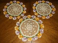 "3 Vintage Hand Crocheted Pansy Doilies~Shades Of Purple & Orange~9""&10"" Across"