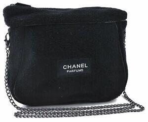 Authentic CHANEL Pile Chain Shoulder Cross Body Bag Black CC C7363
