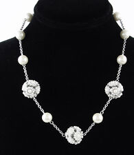 $85 Carolee ALL AMERICAN GIRL Faux Pearl Floral Station Illusion Necklace NEW