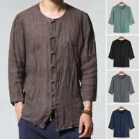 Mens Casual 3/4 Sleeve T Shirt Holiday  Beach Button Down Top Blouse Cool Summer