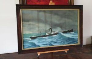 ANTIQUE GOUACHE MARITIME PAINTING OF THE SS HASLINGDEN WWI TORPEDO SANK WAR