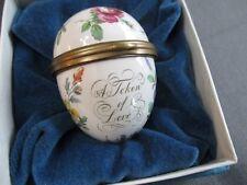 Bilston and Battersea Token of Love Egg Enamel Floral Hinged Trinket Box.