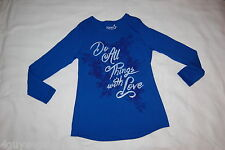 Womens L/S Tee Shirt ROYAL BLUE TUNIC Roses DO ALL THINGS WITH LOVE Size M 8-10