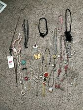 Huge Lot of 30 Vintage Handmade to Now Costume Jewelery Necklaces and 2 Rings