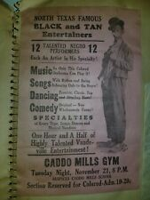 """African American Americana Black and Tan Entertainers Show Bill 1939 9"""" x 6"""""""