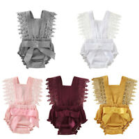 Summer Newborn Baby Girl Lace Romper Bowknot Jumpsuit Bodysuit Outfits Clothes