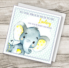 Personalised Handmade Cute Elephant Baby Shower Mum to be card