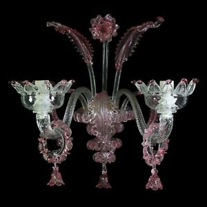 Wall Glass Murano 2xE14 Clear & Colour Authentic With Certificate