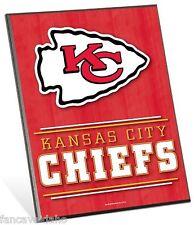 "NFL Kansas City Chiefs Logo Premium 8"" x 10"" Solid Wood Easel Sign"