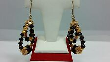 14KT Yellow Gold Filled Designer Faceted Onyx & Pearl Chandelier  Drop Earrings