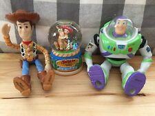 RARE!! Disney TOY STORY Ceramic Figures WOODY BUZZ JESSE Snow globe Figurine LOT