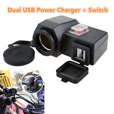 1x Waterproof Motorcycle 12V GPS Cigarette Lighter Dual USB Power Socket Charger