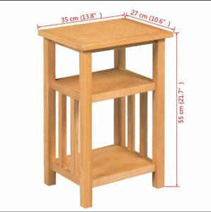 VidaXL 244211.A Side Sofa End Table Snack TV Small Space Storage Shelf Oak Wood