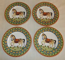 World Imports Voyager Lot of 4 Salad Plates Horses Floral Motif 8 1/2
