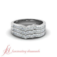 Contour Band Stackable Ring 0.50 Carat Round Cut Channel Set Diamond In Platinum