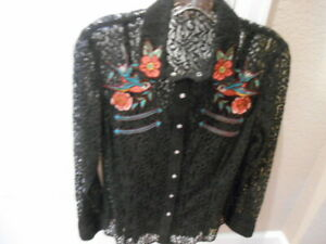 Double D Ranch Wear Western Blouse Black Lace Embroidered Flowers Birds Size XS