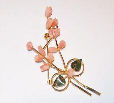 Vtg Carved Pink Angel Skin Coral Rose Pikake Tulip Flower Pin Green Jade Leaf