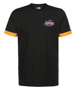 NEW Los Angeles Lakers NBA New Era Stripe Piping T-Shirt Black Tee