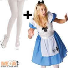 Alice in Wonderland + Tights Ladies Fancy Dress Womens Adults Disney Costume New