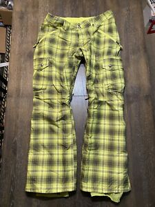 Unisex Burton Dryride Snowboard Pants XL Lime Green & Black Plaid