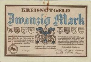 NOTGELD GERMANY -- DILLENBURG -- 1 OKT 1922 -- 20 MARK //884