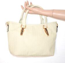 BORSA donna avorio eco pelle tracolla metallo oro bauletto sac bag bolsa E20