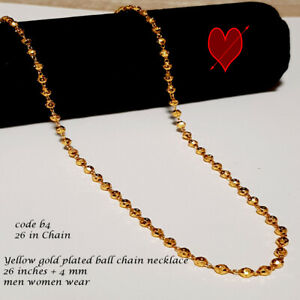 """gold plated beads chain necklace long 26"""" Indian jewellery thin style"""