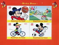 Chad 2018 MNH Mickey Mouse Disney Basketball Football 4v M/S Cartoons Stamps
