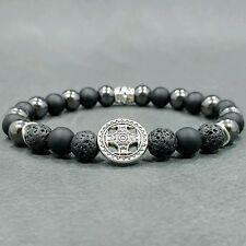 "8""L BOLD 8mm Onyx+Lava+Hematite Gemstone Beaded Men's Silver Cross Bracelet"