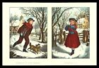 Currier & Ives 1965 Calendar Art Print - Throw If You Dare! Shall I? Snowball