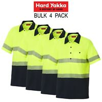 Mens Hard Yakka Koolgear Hi-Vis Short Sleeve Polo Light 4 PACK Work Shirt Y11383