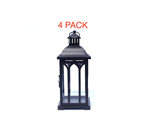 "Rustic Black Metal Candle Lantern, 14 Inches Tall x 5.5"" , Glass Doors  4pack"