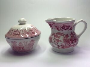 Large new Churchill England vintage style rosa Pink Willow creamer & sugar bowl