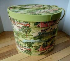 "Vintage Tapestry Hat Wig Box large 13"" diameter 10.5"" Tall"