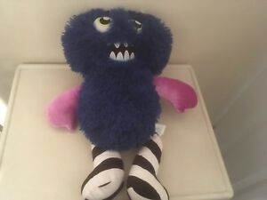 Build A Bear Blue Mixter Monster Black & White Stripes,Pink Removable Arms Legs