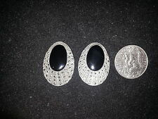 Marcasite & Black Onyx Clip On Earrings 925