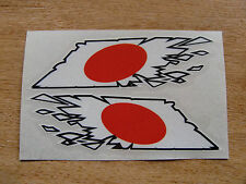 """Japanese Flag  """"ripped"""" style stickers - 150mm decals x2  JDM"""