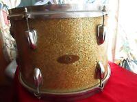 "Vintage Mystery Japan 13 x 9 13x9"" Tom Drum Gold Champagne Sparkle 6 Lug"
