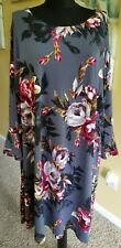 Cato Women's Plus Modern Gypsy Floral Gray Straight Dress 22/24W