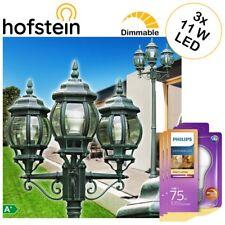 klassische Kandelaber Garten Wege Außen Steh Lampe mit 3 Philips LED 11W Birnen