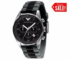 NEW GENUINE EMPORIO ARMANI AR5866 MENS BLACK & GREY SILICONE MENS WATCH GIFT