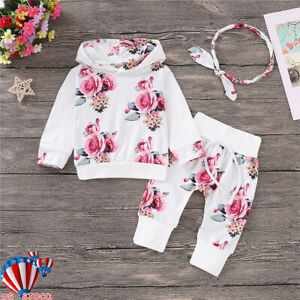 3Pcs Toddler Baby Girl Winter Outfits Clothes Floral Hoodie Tops+Pants+Headband
