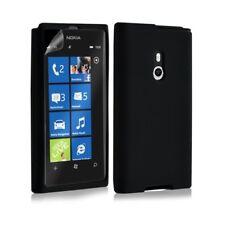 Housse étui coque en silicone pour Nokia Lumia 800 couleur noir + film