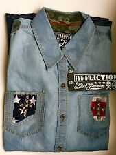 AFFLICTION Women's Dip Dye Chambray Shirt Size S NWT $88