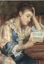 Postkarte: Mary Cassatt - Mrs. Duffee seated on a striped sofa, reading
