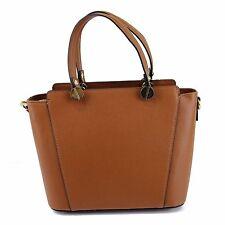 Adelasia Italian Leather Ladies Handbag -  Cognac Shoulder Handbags W/ Gold Trim