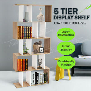 Bookshelf Display Shelf Cabinet 5 Tier Ladder Stand Book Rack Oak Bookcase Stand