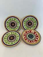 """Pier1 Pier 1 One Imports Set of 4 Colorful Dessert Plates - 6.5"""" Indonesia"""