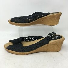 Spring Step Womens Chaya Wedge Sandals Leather Slip On Buckle Tan Black EU 39
