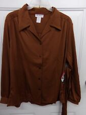 Womens Sz 16 Brown 100% Polyester Button Front Shirt Blouse Vicki Wayne Nwt